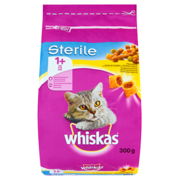 WHISKAS STERILE 1+ Pokarm Suchy Pełnoporcjowy dla Kotów z Kurczakiem 300g