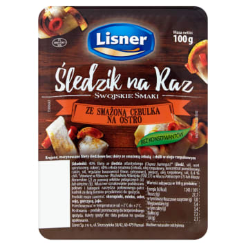LISNER Swojskie Smaki Śledzik na raz ze smażoną cebulką na ostro 100g
