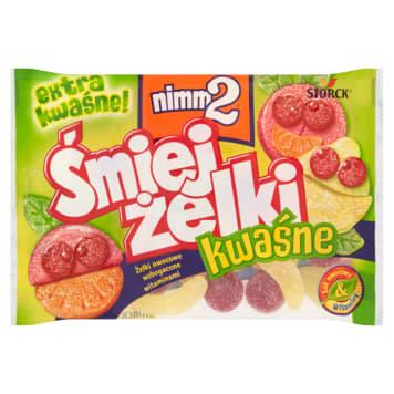 Żelki kwaśne Śmiejżelki Nimm2 na bazie soków owocowych zawierają znaczne ilości witamin.