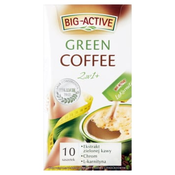Kawa wspomagająca odchudzanie – Big Active. Rozpuszczalny napój kawowy o smaku czekoladowym.