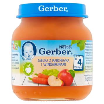 Gerber - Deser Jabłko marchew i winogrona po 4m. 130g posiada pyszny smak i jest zdrowy.