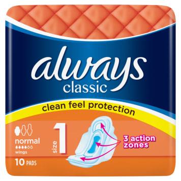 Always Classic Normal - Podpaski ze skrzydełkami. Gwarancja chłonności i wygody.