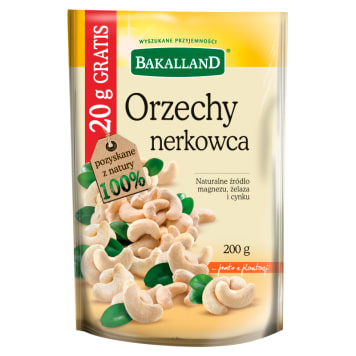 BAKALLAND Orzechy nerkowca +20g GRATIS 180g