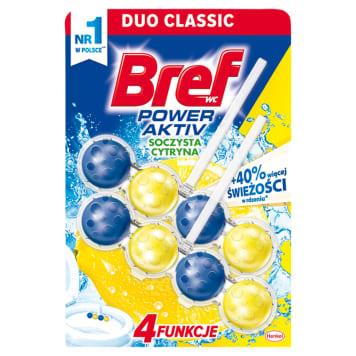 Zawieszka do wc Power Active Lemon – Bref zawiera formułę zapewniającą czystość toalety.