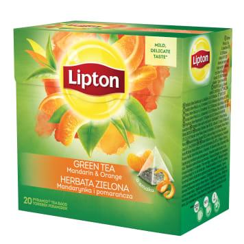 Lipton - Herbata zielona z mandarynką i pomarańczą. Ma delikatny aromat.