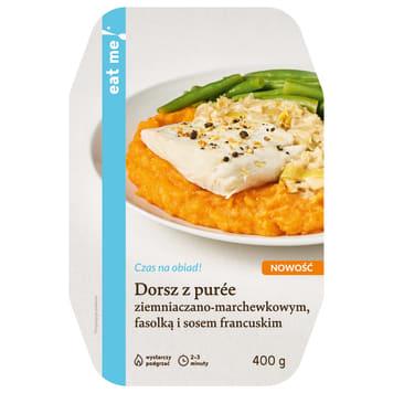EAT ME! Dorsz z puree ziemniaczano-marchewkowym fasolką i sosem francus. 400g