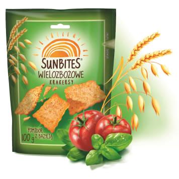 Herbatniki wielozbożowe z bazylią i pomidorami - Sunbites. Chrupiąca i pełnowartościowa przekąska.