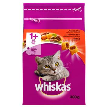 Whiskas – Sucha karma z wołowiną i wątróbką dla kotów to smaczny i pożywny posiłek.