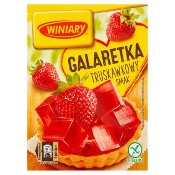 Winiary Galaretka o smaku truskawkowym to gotowy deser i wyśmienite uzupełnienie domowych wypieków.