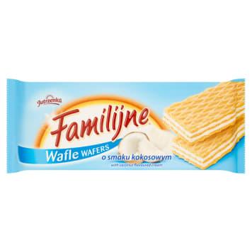 Familijne Wafle o smaku kokosowym 180g - Jutrzenka. Doskonała przekąska.