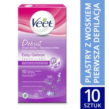 Plastry z woskiem do skóry wrażliwej - Veet Debiut. Gwarancja szybkiej i dokładnej depilacji.