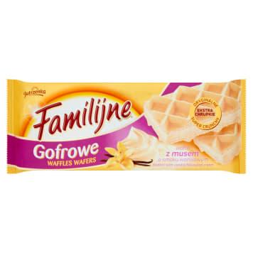 Familijne wafle gofrowe z musem waniliowym-Jutrzenka to świetny pomysł na pyszny deser.