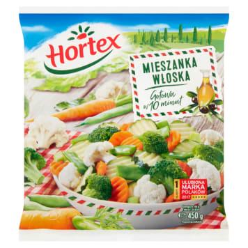 HORTEX – mrożona mieszanka włoska, 450 g. Wyprodukowano na bazie wyselekcjonowanych warzyw.