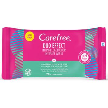 Chusteczki do higieny intymnej – Carefree zawierają wyciąg z aloesu i działają kojąco.