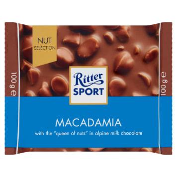 Ritter Sport - Czekolada mleczna z orzechami macadamia. Słodka przekąska dla każdego.