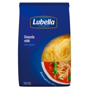 Makaron gniazdka nitki - Lubella. Produkt wytwarzany z wysokiej jakości pszenicy - sprężysty.