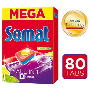 SOMAT All in 1 Tabletki do zmywarek Lemon & Lime 80 szt. 1szt