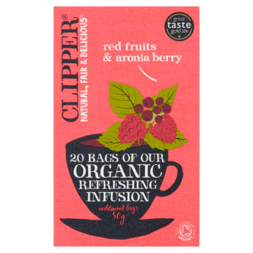 CLIPPER Herbata z czerwonymi owocami i aronią BIO 20 torebek 50g