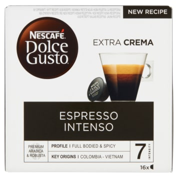 Kapsułki z kawą - Nescafé Dolce Gusto Espresso Intenso. Ma charakterystyczny, intensywny smak.