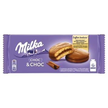 MILKA Choc&Choc Ciastka biszkoptowe z nadzieniem kakaowym i kaw. czeko. 5 szt. 150g