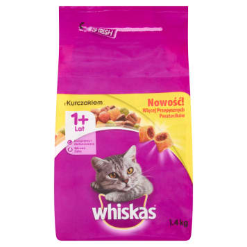 WHISKAS 1+ Pokarm dla kotów z kurczakiem 1.4kg