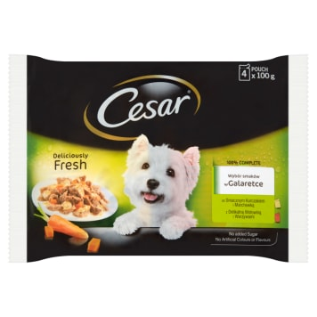 CESAR Pokarm dla Psów - Wybór Smaków w Galaretce (4 saszetki) 400g