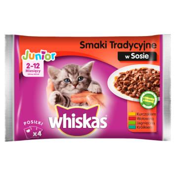 WHISKAS JUNIOR Pokarm dla Kotów - Smaki Tradycyjne w Sosie (4 saszetki) 400g