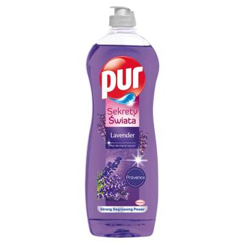 Płyn do zmywania naczyń o zapachu lawendy – Pur doskonale zmywa nawet zaschniete naczynia.