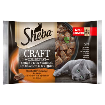 SHEBA CRAFT COLLECTION Pokarm dla Kotów - Smaki Mięsne w Sosie (4 saszetki) 340g