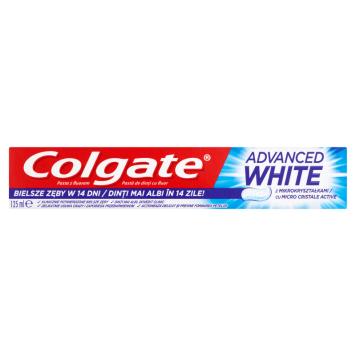 Pasta do zębów-Colgate Advanced White. Intensywnie wybiela i zapobiega nowym przebarwieniom.