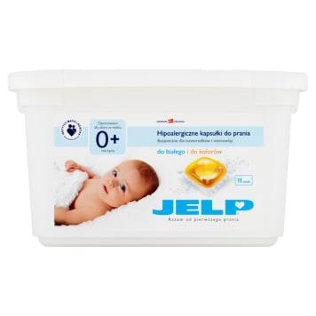 Kapsułki do prania Jelp na bazie naturalnego mydła, zalecane do prania rzeczy dziecięcych.