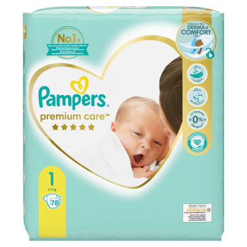 Pampers Premium Care, Rozmiar 1, 78 pieluszki, 2kg-5kg