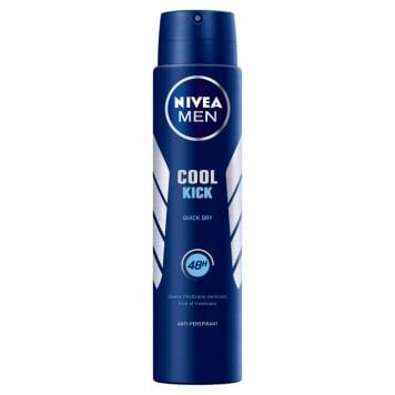 Nivea - Cool Kick antyperspirant w sprayu Men chłodzi, pielęgnuje i zapewniajdługotrwałą świeżość.
