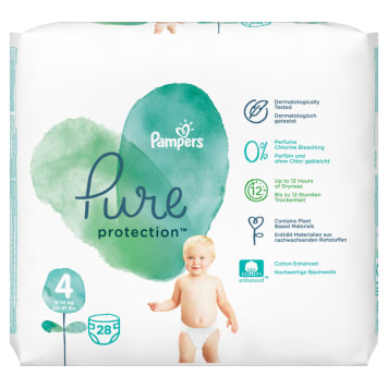 PAMPERS Pure Protection Pieluchy rozmiar 4 (9-14kg) 28 szt 1 szt