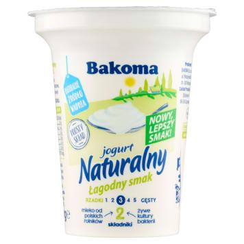 Jogurt naturalny Łagodny Smak - Bakoma posiada wysoką zawartość wapnia i niewiele tłuszczu.