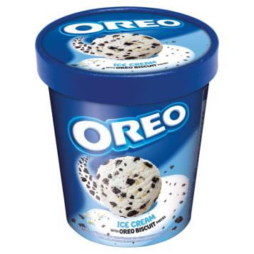 Oreo - lody śmietankowe z herbatnikami, 480 ml. Zawierają herbatniki i białą czekoladę.