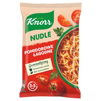 Knorr - Nudle Zupa pomidorowa łagodna. Rewelacyjne połączenie składników to gwarancja pełnego smaku.