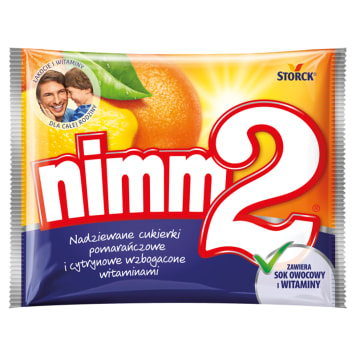 Cukierki pomarańczowo-cytrynowe z sokiem 90 g – Nimm2. Cukierki z dodatkiem witamin.