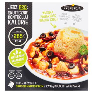 PROPORCJA Kurczak w sosie śródziemnomorskim z kaszą bulgur i warzywami 300g