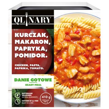 QLINARY Obiad z makaronem i kurczakiem w sosie z papryką i pomidorami 410g
