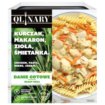 QLINARY Obiad z makaronem i kurczakiem w sosie z ziołami  i śmietanką 410g