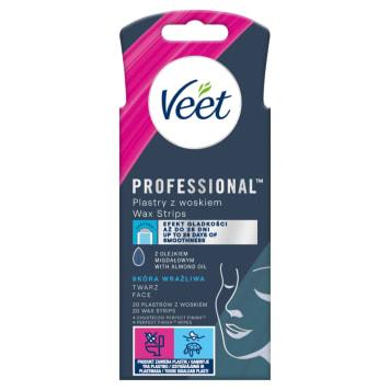 VEET Easy-Gelwax Plastry z woskiem do twarzy 20 szt. i 4 chusteczki 1szt
