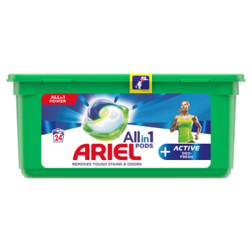 ARIEL Allin1 Pods +Active Odor Defense Kapsułki do prania tkanin 24 szt. 1szt