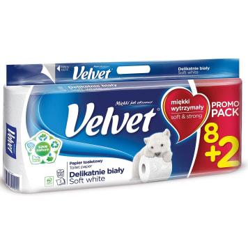 Papier toaletowy 8 rolek - Velvet. Papier Velvet to dobre połączenie wytrzymałości i delikatności.