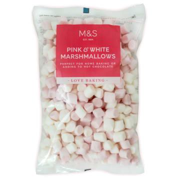 MARKS & SPENCER Różowe i białe pianki marshmallows 125g