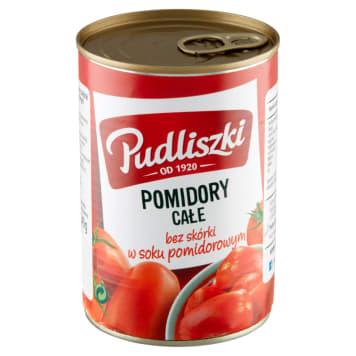 Pudliszki – Całe pomidory w soku pomidorowym są pozbawione skórki i zawierają naturalny sok.