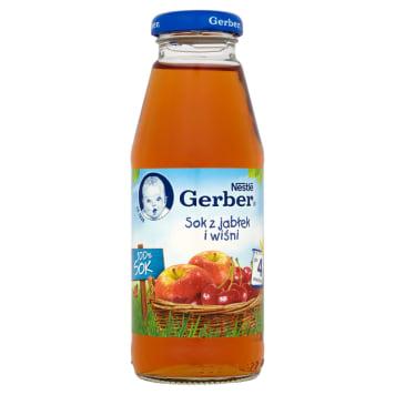 Gerber Sok z jabłek i wiśni - po 6 miesiącu. Wyłącznie z najlepszych owoców.