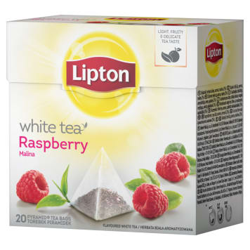 LIPTON White Herbata biała aromatyzowana Malina 20 torebek 30g