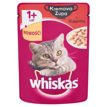 Whiskas - Kremowa zupa z wołowiną pełnoporcjowa po 1. roku. Wartościowy dla kota posiłek.