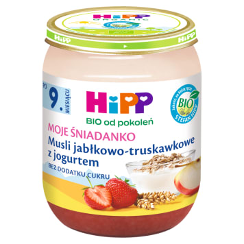 HIPP Moje Śniadanko Musli jabłkowo-truskawkowe z jogurtem BIO - po 9 miesiącu 160g